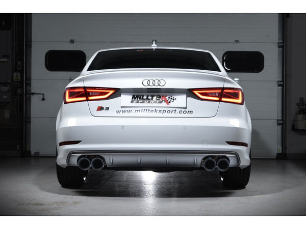 Milltek Non-Resonated Cat Back Exhaust With Quad Round Titanium Tips  - Audi S3 2.0 TFSI Quattro Sedan 8V