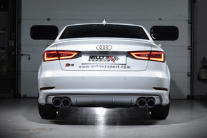Milltek Resonated Cat Back Exhaust With Quad Round Cerakote Black Tips  - Audi S3 2.0 TFSI Quattro Sedan 8V
