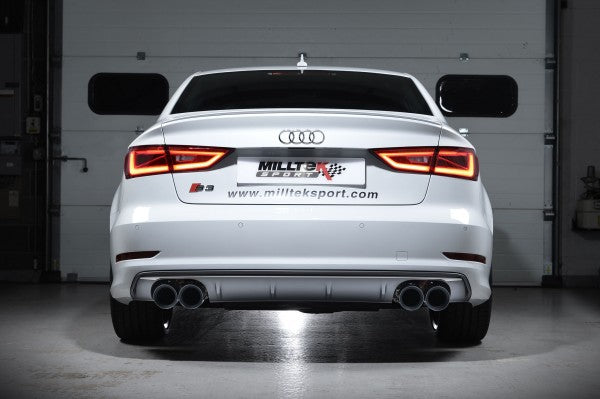 Milltek Resonated Cat Back Exhaust With Quad Round Titanium Tips  - Audi S3 2.0 TFSI Quattro Sedan 8V
