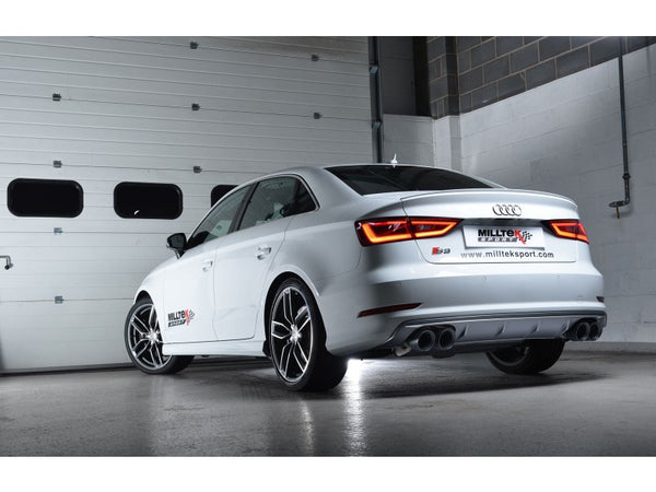 Milltek Cat Back Non-Valved, Resonated Race Exhaust System with Quad Oval Polished Tips - Audi S3 2.0 TFSI quattro Saloon 8V