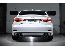 Milltek Cat Back Non-Valved, Resonated Race Exhaust System with Quad Round Polished Tips - Audi S3 2.0 TFSI quattro Saloon 8V