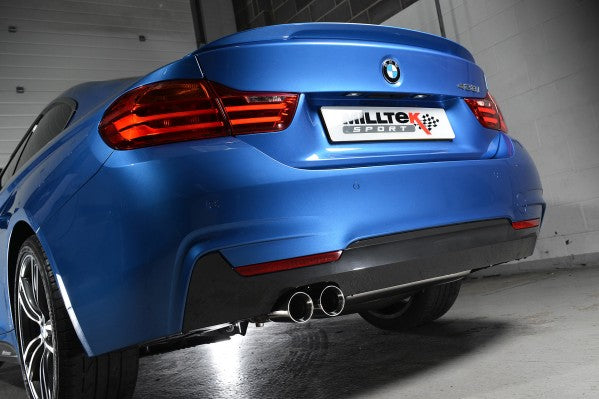 Milltek Resonated Cat-Back Exhaust With 435i Style Dual Outlet Cerakote Black Tips - BMW 4 Series Coupe Automatic With Tow Bar
