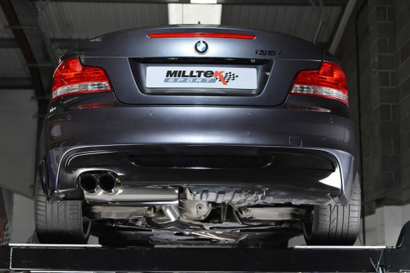 Milltek Turbo-back Exhaust with Secondary Hi-Flow Sports Cats - BMW 135i Coupe & Cabriolet N54 - Polished Tips