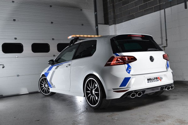 Milltek Resonated Turbo-Back Exhaust Including High-Flow Sports Cat With Cerakote Black Oval Tips - VW Golf R MK7