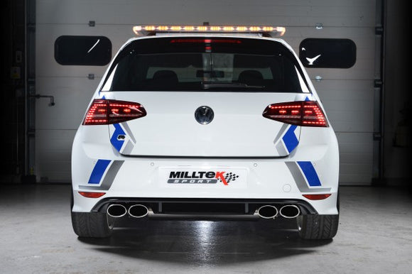 Milltek Non-Resonated Turbo-Back Exhaust Including High-Flow Sports Cat With Polished Oval Tips - VW Golf R MK7