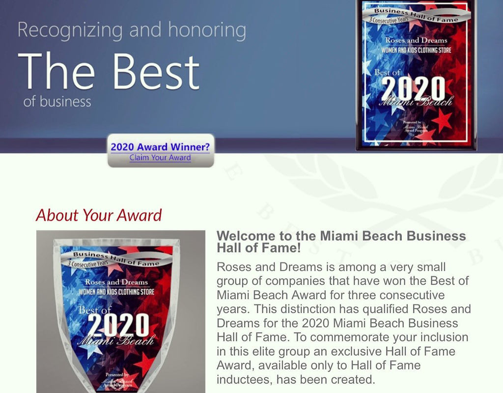 Best of Miami Beach Award 2020
