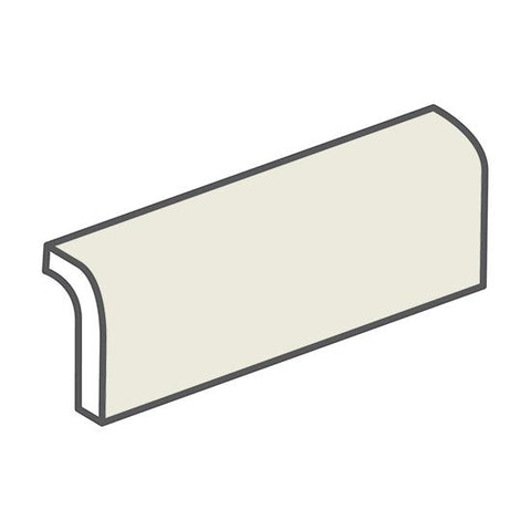 "American Olean Bright 2 x 6 Gloss Almond Radius Bullnose - 6"" Side"