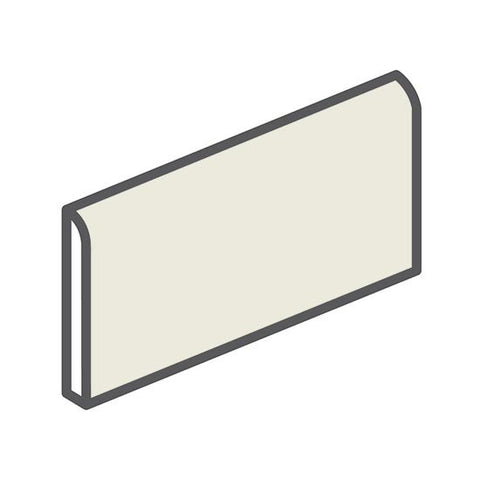 "American Olean Bright 2 x 6 Gloss Almond Wall Surface Bullnose - 6"" Side"