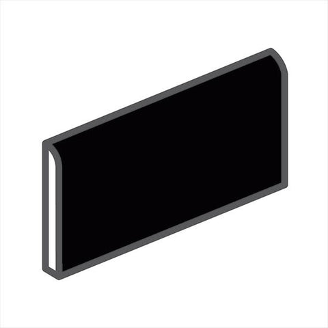 "American Olean Bright 2 x 6 Gloss Black Wall Surface Bullnose - 6"" Side"