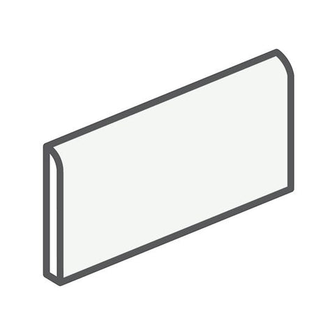 "American Olean Matte 2 x 6 Designer White Wall Surface Bullnose - 6"" Side - American Fast Floors"