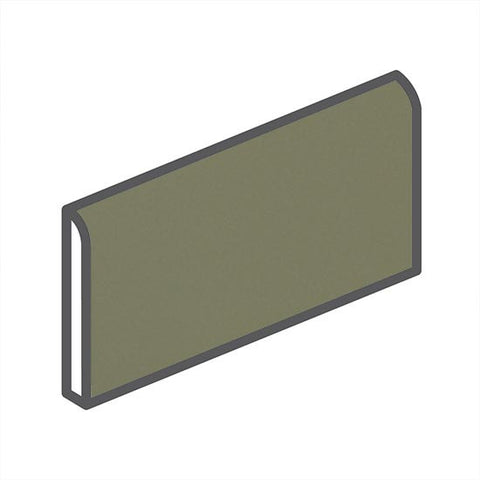 "American Olean Bright 2 x 6 Artichoke Wall Surface Bullnose - 6"" Side"