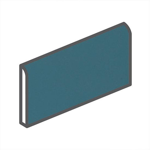 "American Olean Matte 2 x 6 Bimini Blue Wall Surface Bullnose - 6"" Side"