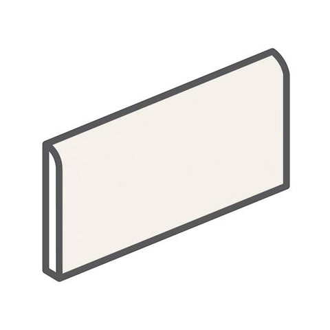 "American Olean Bright 2 x 6 White Wall Surface Bullnose - 6"" Side"