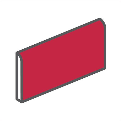 "American Olean Bright 2 x 6 Ruby Red Wall Surface Bullnose - 6"" Side"