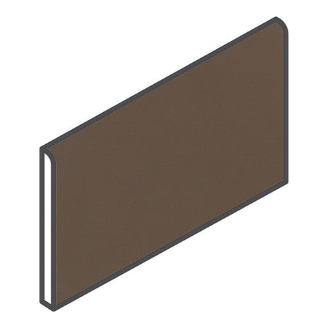 "Daltile Modern Dimensions 4-1/4 x 8-1/2 Gloss Artisan Brown Bullnose (8-1/2"" Side)"