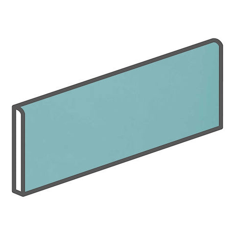 "Daltile Modern Dimensions 4-1/4 x 12-3/4 Aqua Glow Surface Bullnose - 12"" Side"