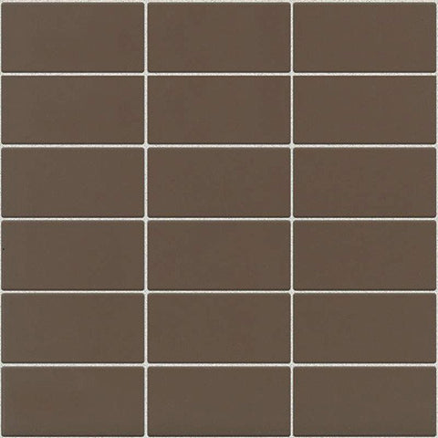 Daltile Modern Dimensions Matte Artisan Brown 2 x 4 Straight-Joint Mosaic