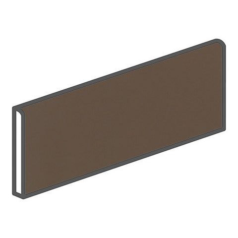 Daltile Modern Dimensions 4-1/4 x 12-3/4 Gloss Artisan Brown Bullnose Corner Right