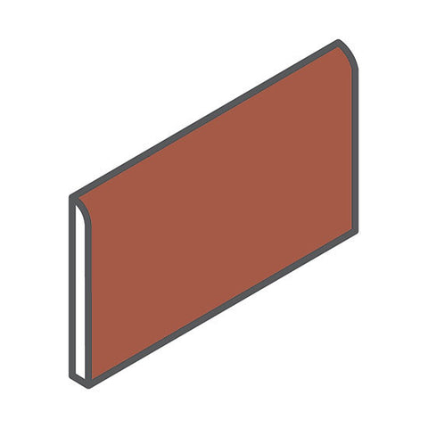 "American Olean Quarry Tile 3-7/8 x 8 Canyon Red Bullnose 8"" Edge"
