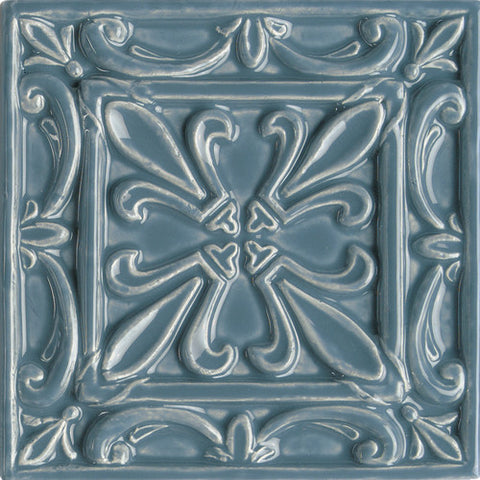 "Daltile Earthen Art Folio One 6"" x 6"" Winter Storm Fleur De Lis Accent"