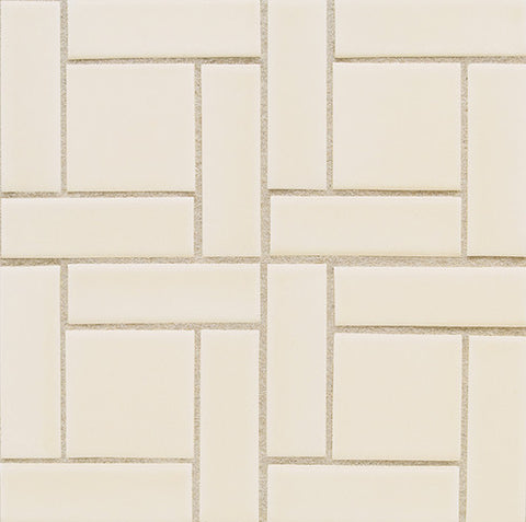 "Daltile Earthen Art Folio One 1"" x 4"" Matte Ivory Coast Pinwheel"
