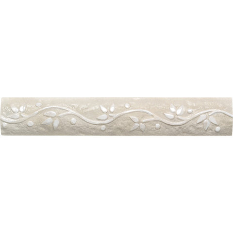 "Daltile Brancacci 2"" x 12"" Aria Ivory Arched Floral Listello"
