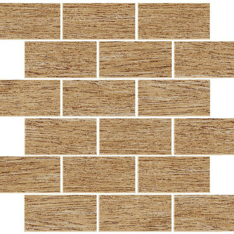 "Bergen 12""X12"" Roble Brick Glazed Mosaic"