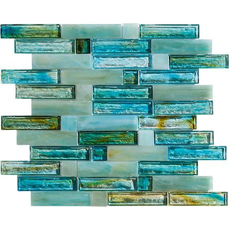 "Marazzi Caicos 12-1/2""x13"" Blue Beach Glass Mosaic"