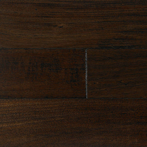 "IndusParquet Brazilian Angelim Ebony Black 1/2"" x 5"" Handscraped Engineered Hardwood - American Fast Floors"