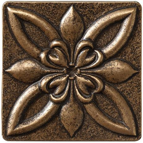 "Marazzi Romance Collection 4""x4"" Bronze Floral Insert - American Fast Floors"