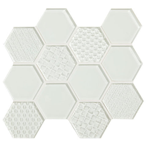 "American Olean Color Appeal Felicity Pearl 3"" Hexagonal Multi-Structured Mosaic"
