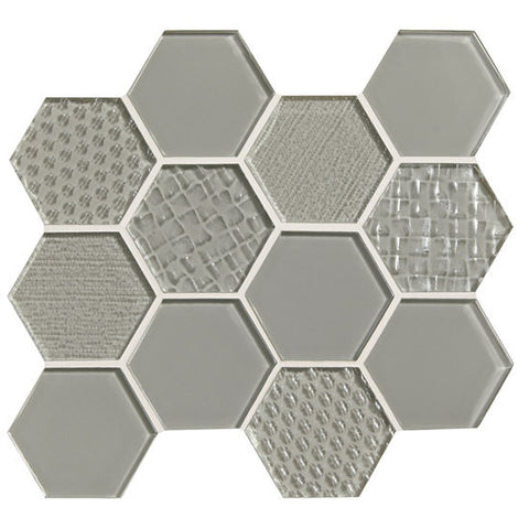 "American Olean Color Appeal Felicity Silver Cloud 3"" Hexagonal Multi-Structured Mosaic"