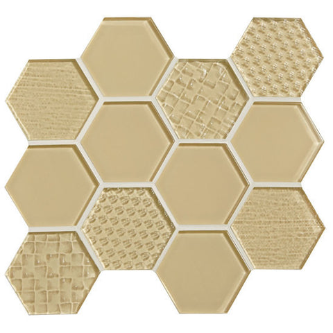"American Olean Color Appeal Felicity Cloud Cream 3"" Hexagonal Multi-Structured Mosaic"