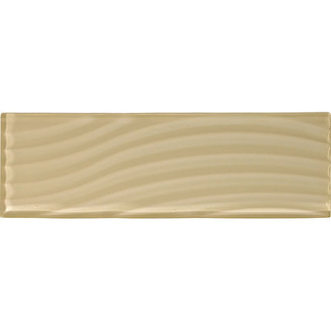 American Olean Color Appeal Abstracts 4 x 12 Cloud Cream Wavy Glass Tile