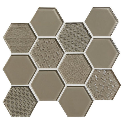 "American Olean Color Appeal Felicity Plaza Taupe 3"" Hexagonal Multi-Structured Mosaic - American Fast Floors"