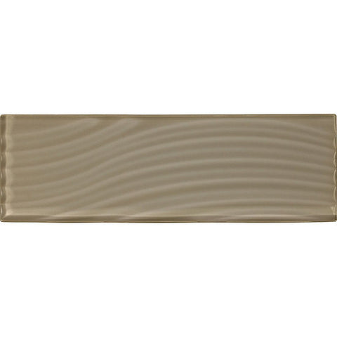 American Olean Color Appeal Abstracts 4 x 12 Plaza Taupe Wavy Glass Tile