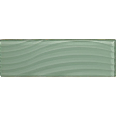 American Olean Color Appeal Abstracts 4 x 12 Vintage Mint Wavy Glass Tile - American Fast Floors