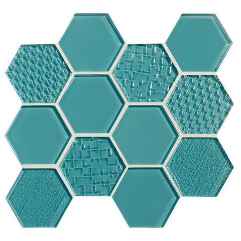 "American Olean Color Appeal Felicity Fountain Blue 3"" Hexagonal Multi-Structured Mosaic"