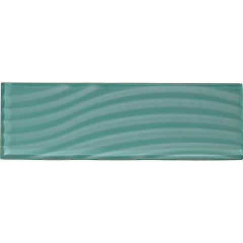 American Olean Color Appeal Abstracts 4 x 12 Fountain Blue Wavy Glass Tile