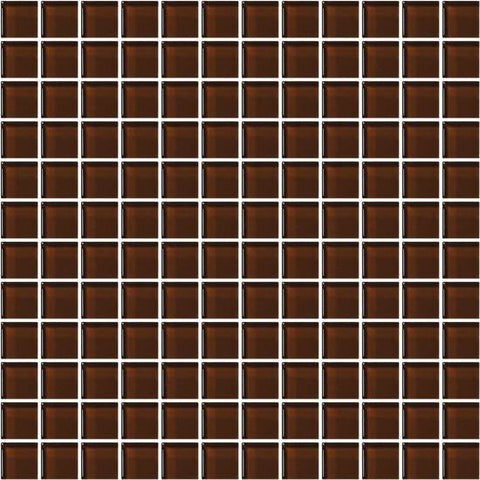 American Olean Color Appeal Copper Brown 1 X 1 Mesh-Mounted Mosaic