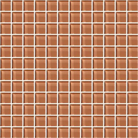 American Olean Color Appeal Brandied Melon 1 X 1 Mesh-Mounted Mosaic