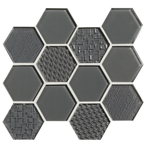 "American Olean Color Appeal Felicity Charcoal Gray 3"" Hexagonal Multi-Structured Mosaic"
