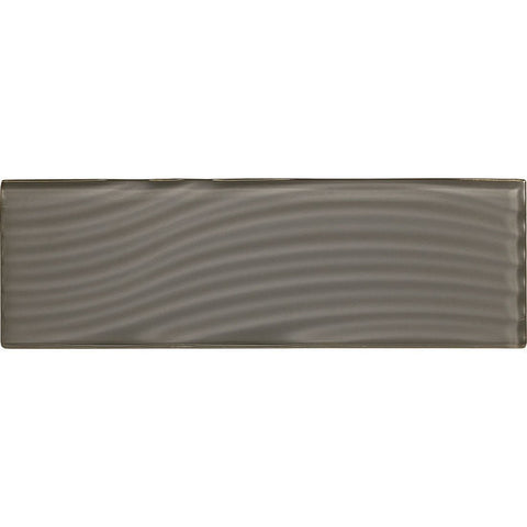 American Olean Color Appeal Abstracts 4 x 12 Charcoal Gray Wavy Glass Tile