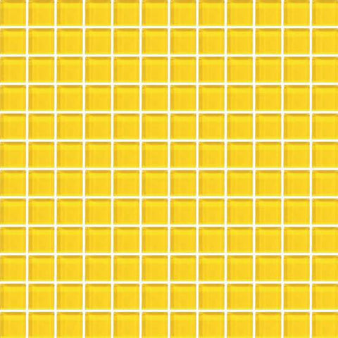 American Olean Color Appeal Vibrant Yellow 1 X 1 Mesh-Mounted Mosaic