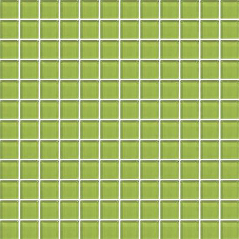 American Olean Color Appeal Lime Green 1 X 1 Mesh-Mounted Mosaic