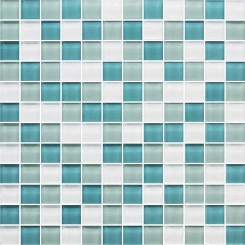 American Olean Color Appeal Sea Pearl 1 X 1 Mesh-Mounted Mosaic Blends