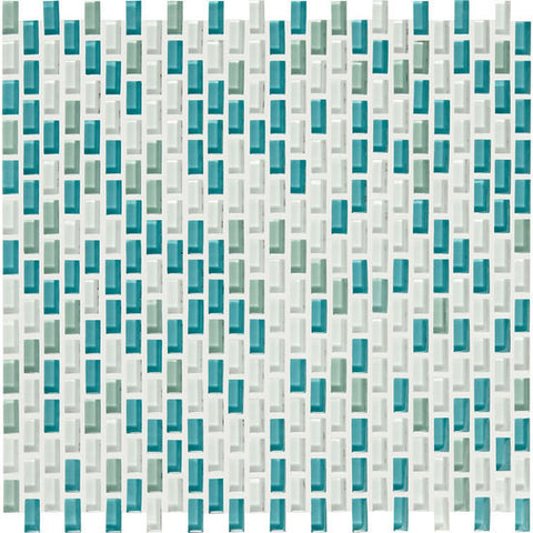 American Olean Color Appeal Renewal Sea Pearl 3/8 X 3/4 Chain-Link Glass Mosaic