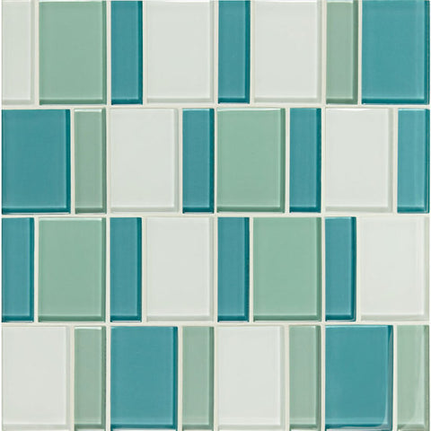 "American Olean Color Appeal Renewal Sea Pearl 3"" Block Glass Mosaic"