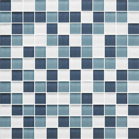American Olean Color Appeal Blue Moon 1 X 1 Mesh-Mounted Mosaic Blends
