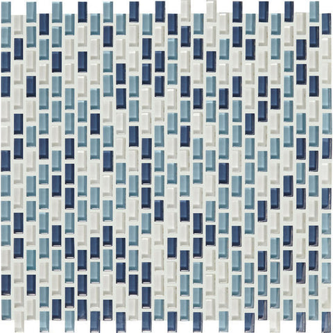 American Olean Color Appeal Renewal Blue Moon 3/8 X 3/4 Chain-Link Glass Mosaic